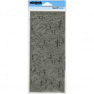 "Silver Christmas Ornaments 2 Peel Off Stickers 4""X9"" Sheet EC2536-S"