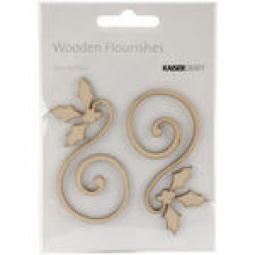 Holly Curl 2/Pkg Wood Flourishes FL467