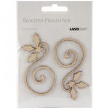 Holly Curl 2/Pkg Wood Flourishes FL467