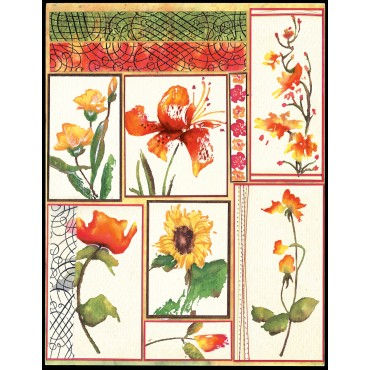 "Flower Gallery Penny Black Sticker Sheet 7""X9"" PB10STKR-180"