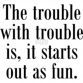 The Trouble With Trouble... Riley & Company Funny Bones Cling Mounted Stamp RWD104