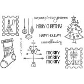 Merry, Merry, Merry - 12 stamps Unmounted Red Rubber Stamps UK-467A