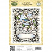 "Song Bird JustRite Stampers Cling Background Stamp 4-1/2""X5-3/4"" CL03970"